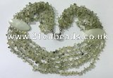 CGN758 20 inches stylish 6 rows prehnite chips necklaces