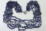 CGN769 20 inches stylish 6 rows lapis Lazuli chips necklaces