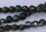 CGO113 15.5 inches 10mm faceted round gold green color stone beads