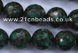 CGO118 15.5 inches 20mm faceted round gold green color stone beads