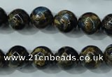 CGO164 15.5 inches 12mm round gold blue color stone beads