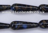 CGO189 15.5 inches 10*30mm teardrop gold blue color stone beads