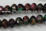 CGO25 15.5 inches 8*12mm faceted rondelle gold multi-color stone beads