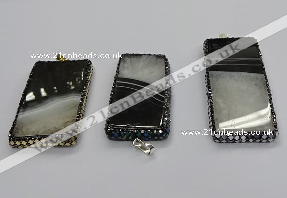 CGP3053 30*65mm - 35*75mm rectangle druzy agate pendants
