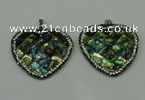 CGP310 40*40mm heart abalone shell pendants wholesale