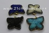 CGP3114 40*45mm butterfly druzy agate pendants wholesale