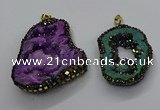CGP3120 45*65mm - 55*70mm freeform druzy agate pendants
