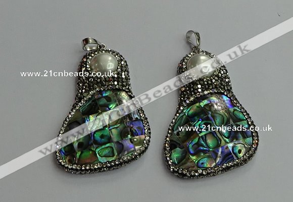 CGP612 35*55mm freeform abalone shell & shell pearl pendants