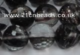 CGQ42 15.5 inches 14mm faceted round black gold sand quartz beads