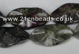 CGR23 15.5 inches 15*28mm wavy marquise green rain forest stone beads
