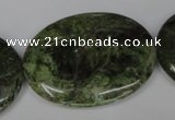CGR29 15.5 inches 30*40mm oval green rain forest stone beads