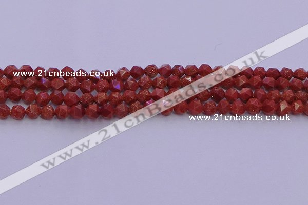 CGS451 15.5 inches 6mm faceted nuggets goldstone beads wholesale