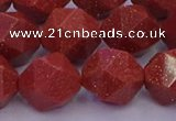 CGS454 15.5 inches 12mm faceted nuggets goldstone beads wholesale