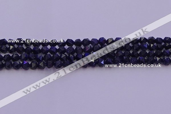 CGS456 15.5 inches 6mm faceted nuggets goldstone beads wholesale