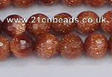 CGS472 15.5 inches 8mm faceted round goldstone beads wholesale