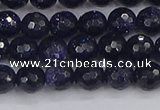 CGS479 15.5 inches 6mm faceted round blue goldstone beads