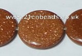 CGS78 15.5 inches 30mm coin goldstone beads wholesale