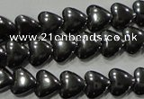 CHE256 15.5 inches 6*6mm heart hematite beads wholesale