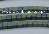CHE444 15.5 inches 3*3mm cube matte plated hematite beads wholesale