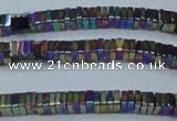 CHE575 15.5 inches 1*3*3mm square plated hematite beads wholesale