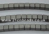 CHE608 15.5 inches 2*2mm cube matte plated hematite beads wholesale
