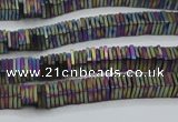 CHE630 15.5 inches 1*3*3mm square matte plated hematite beads