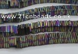 CHE637 15.5 inches 1*4*4mm square matte plated hematite beads