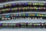 CHE679 15.5 inches 1*3mm tyre matte plated hematite beads