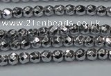 CHE700 15.5 inches 3mm faceted round plated hematite beads
