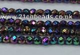 CHE716 15.5 inches 4mm faceted round plated hematite beads