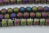 CHE725 15.5 inches 4mm round matte plated hematite beads wholesale