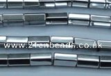 CHE751 15.5 inches 5*8mm faceted tube plated hematite beads