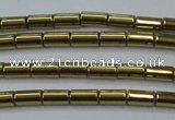 CHE761 15.5 inches 2*4mm tube plated hematite beads wholesale