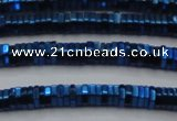 CHE839 15.5 inches 1*3mm hexagon plated hematite beads wholesale