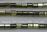CHE888 15.5 inches 2*2mm faceted tube plated hematite beads wholesale