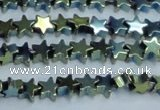 CHE941 15.5 inches 4mm star plated hematite beads wholesale