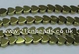 CHE992 15.5 inches 4*4mm heart plated hematite beads wholesale