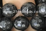 CHS45 15.5 inches 8mm faceted round natural hypersthene beads