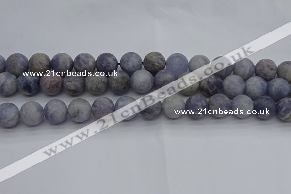 CIL111 15.5 inches 10mm round matte iolite gemstone beads