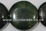 CIS18 15.5 inches 35mm flat round green iron stone beads wholesale