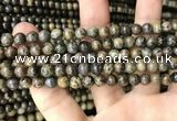 CJB314 15.5 inches 4mm round orange dendritic jade beads