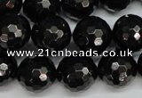 CJB47 15.5 inches 16mm faceted round natural jet gemstone beads
