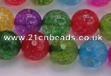 CKQ354 15.5 inches 14mm faceted round dyed crackle quartz beads