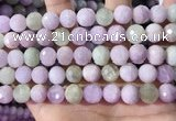 CKU326 15.5 inches 10mm faceted round natural kunzite beads