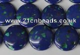 CLA415 15.5 inches 20mm flat round synthetic lapis lazuli beads