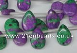 CLA535 Top-drilled 10*14mm flat teardrop synthetic lapis lazuli beads