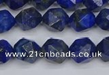 CLA86 15.5 inches 6mm faceted nuggets dyed lapis lazuli beads