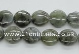 CLB105 15.5 inches 12mm flat round labradorite gemstone beads wholesale