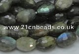 CLB35 15.5 inches 10*14mm faceted rice labradorite gemstone beads