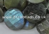 CLB39 15.5 inches 25mm faceted flat round labradorite gemstone beads
